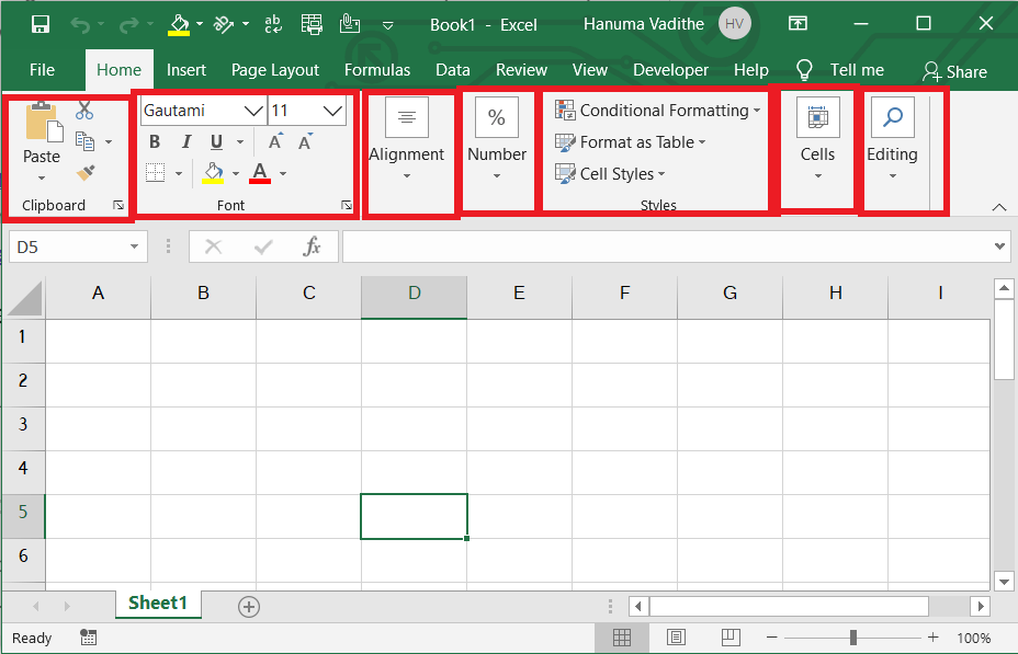 Groups in excel