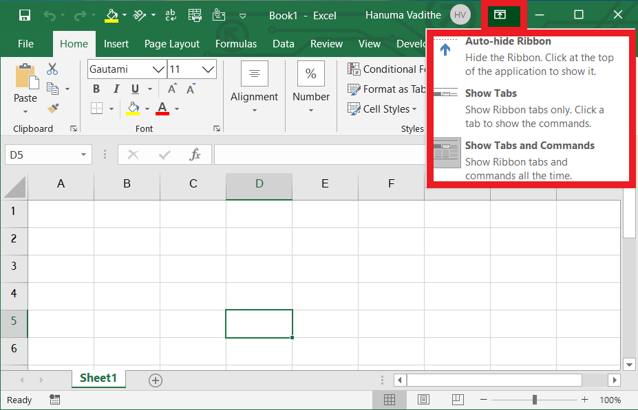 Ribbon Display Options Ribbon in Introduction to ms excel & user interface to MS Excel