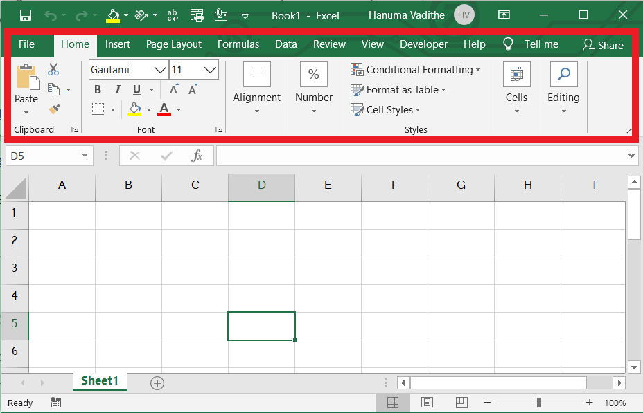 Ribbon in Introduction to ms excel & user interface to MS Excel