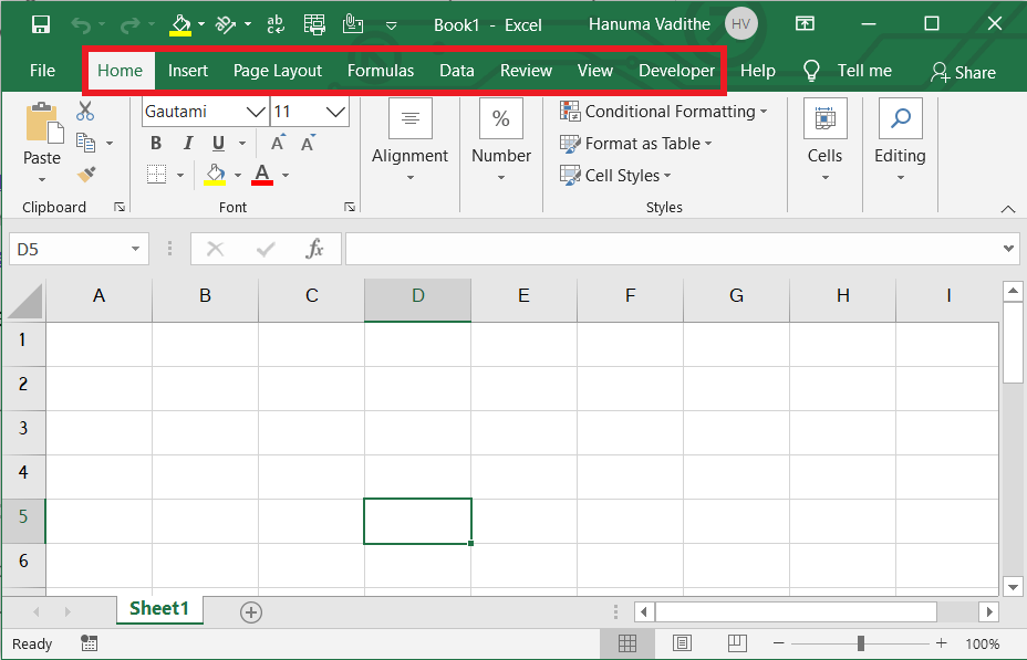 Tabs in Introduction to ms excel & user interface to MS Excel