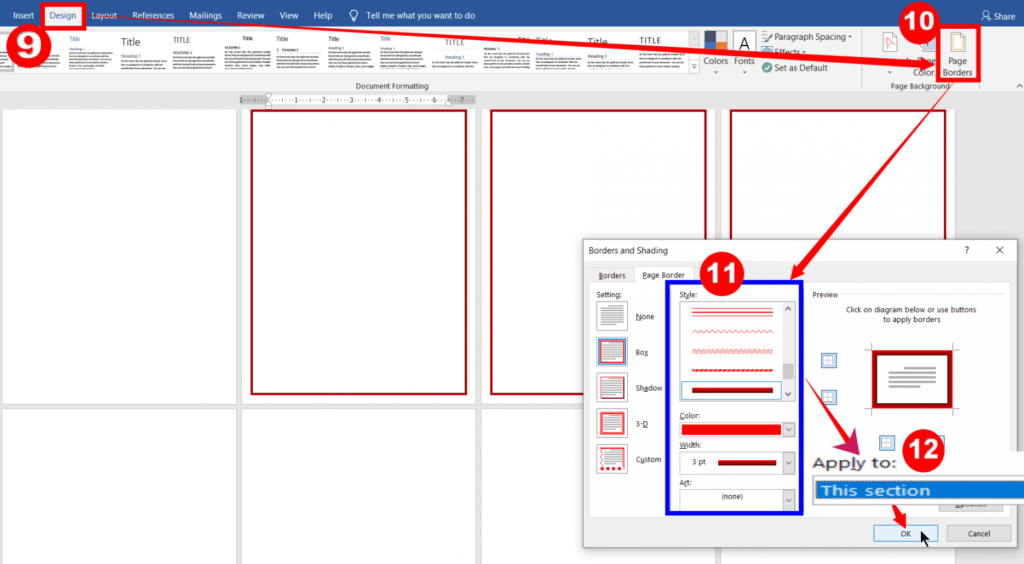 Custom Page Borders for different pages in a Word Document