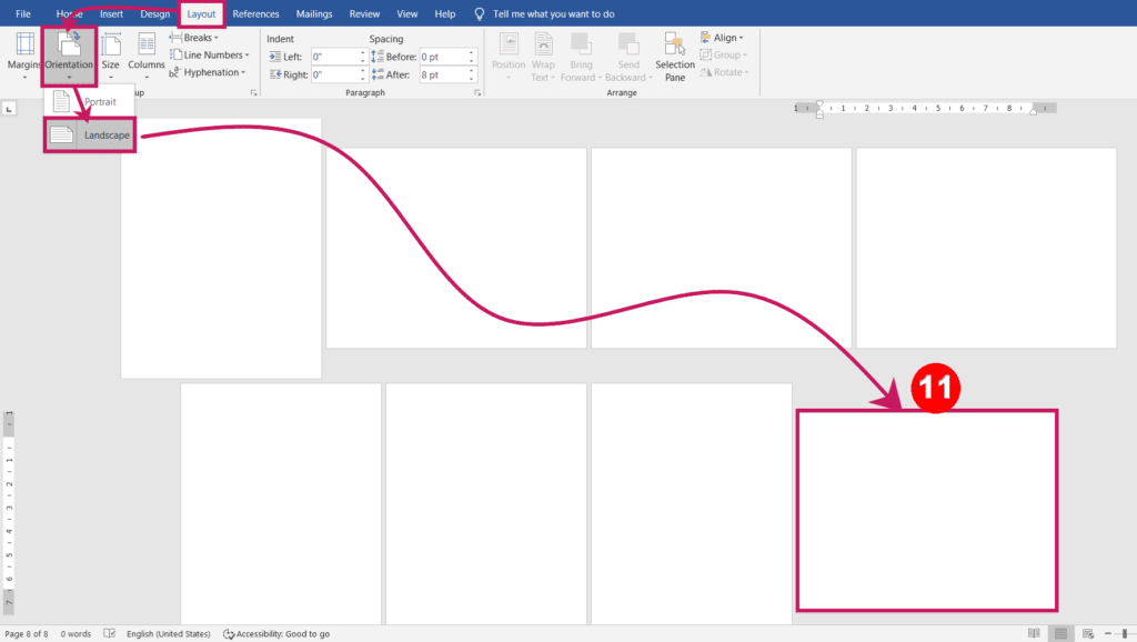 Changing portrait to landscape orientation page in ms word