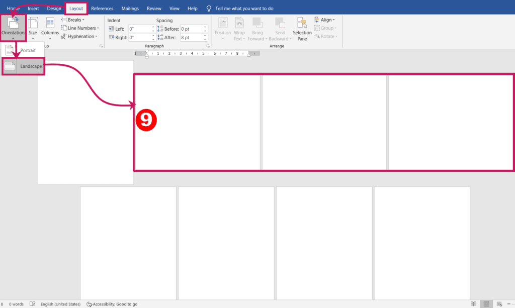 Set portrait and landscape pages at a time in ms word