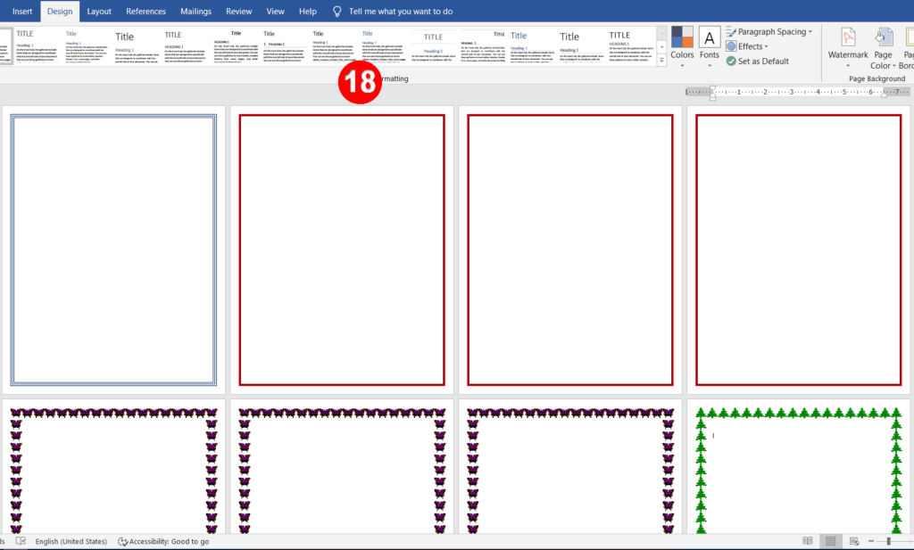 Different page borders for different pages in ms word