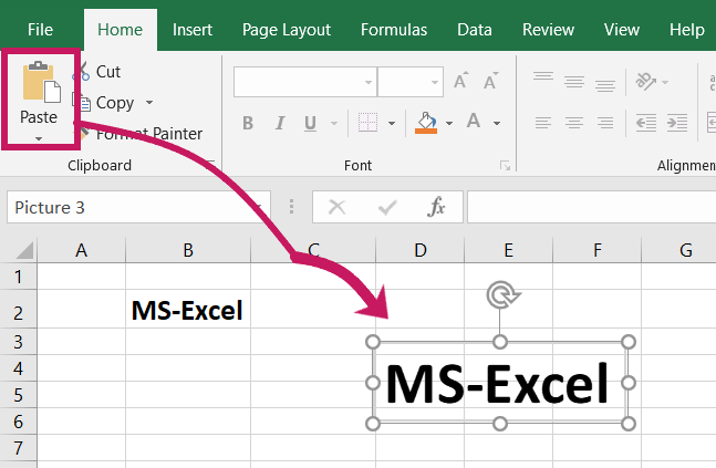 Copy text as picture in microsoft excel