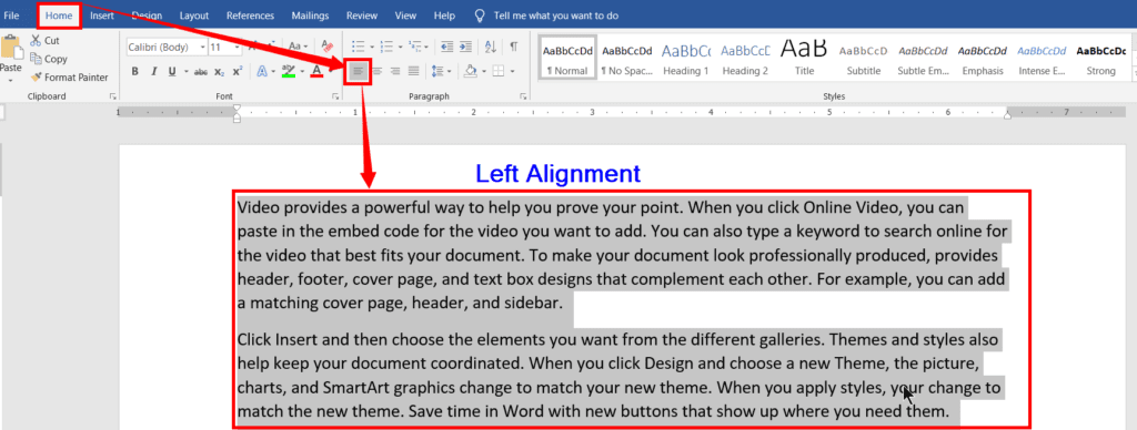Left, Right, Center, and Justification alignments in MS-Word