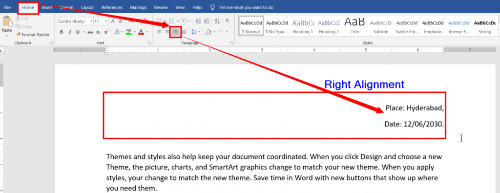 Right Alignment in ms word