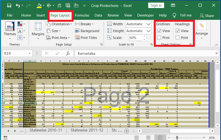 View and Print Gridlines and Headings in Sheet Options-Excel