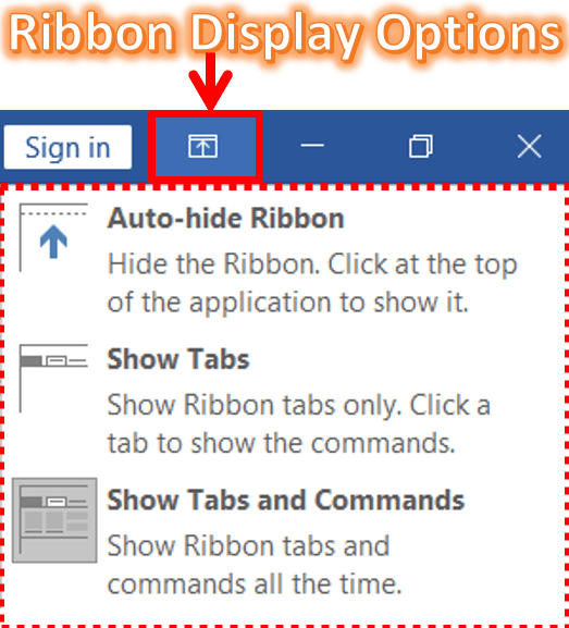 Ribbon Display Options in MS-Word 2019, 2016, and 2013
