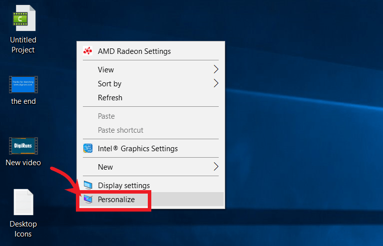 Personalize | How to Show or hide desktop icons