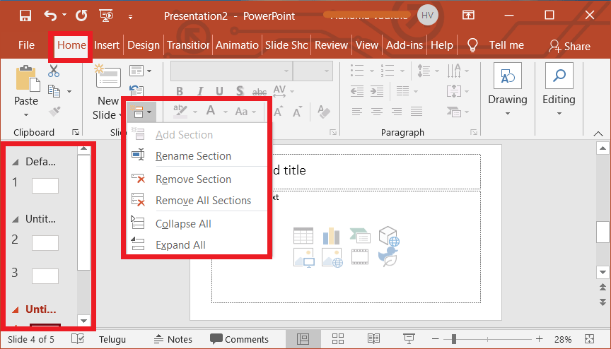 Add, Rename, Collapse and Expand Section in PowerPoint