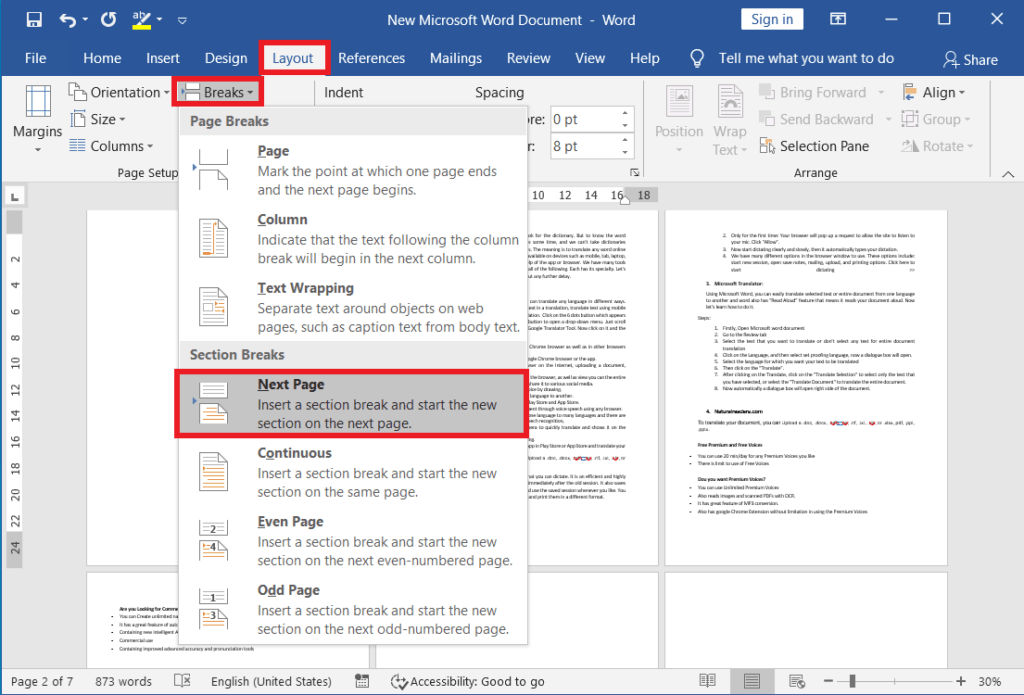 Accommodate columns for different pages and sections in ms word