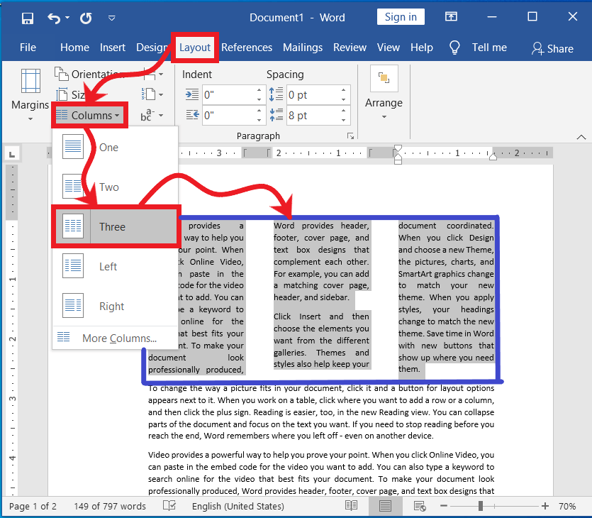 Accommodate different columns for different pages in ms word
