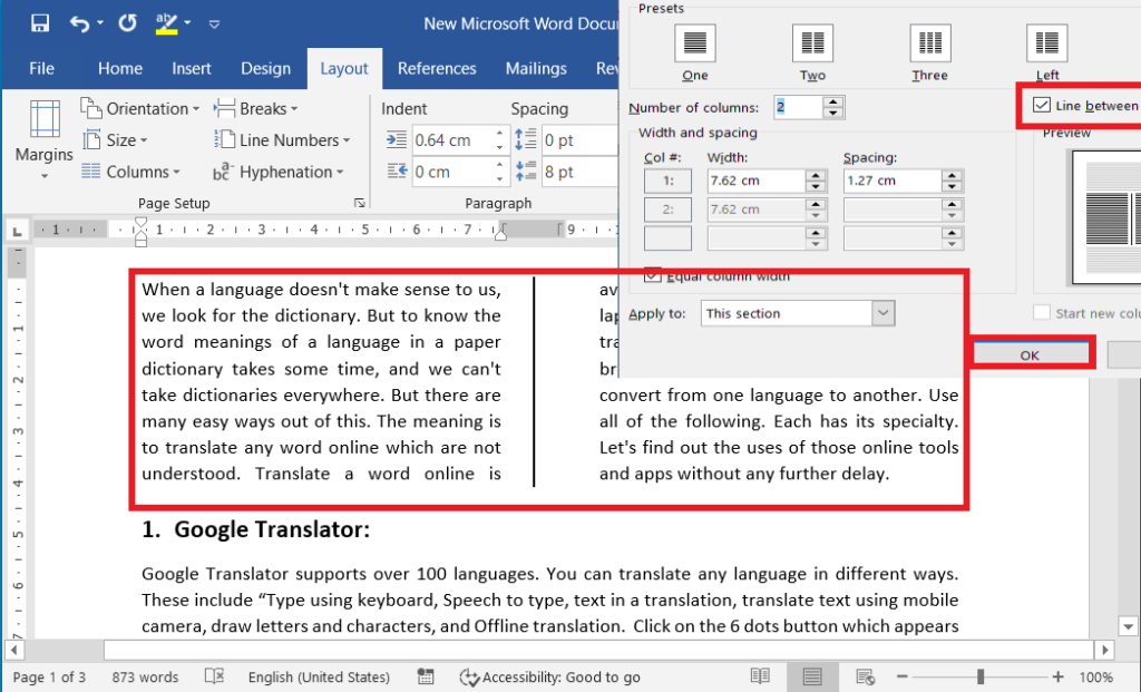 Apply or insert liners between the columns in word