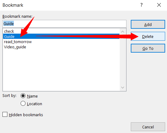 How to Bookmark Document Location in MS-Word 2019