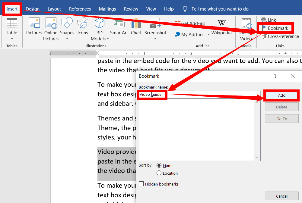 How to bookmark the document location in ms word