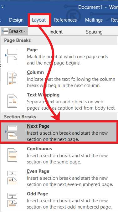 Next Page section Breaks