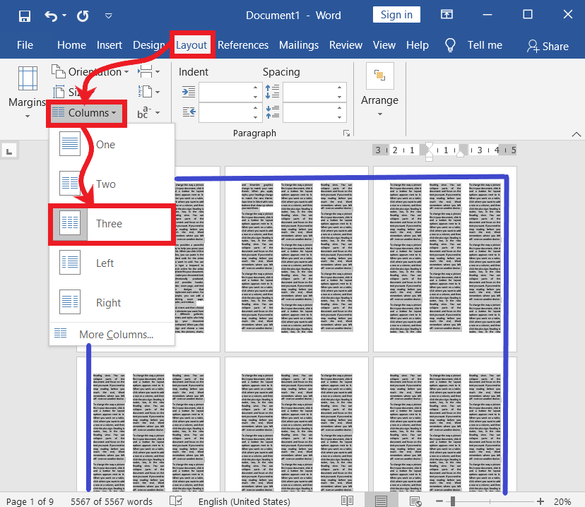 Split text into columns in ms word