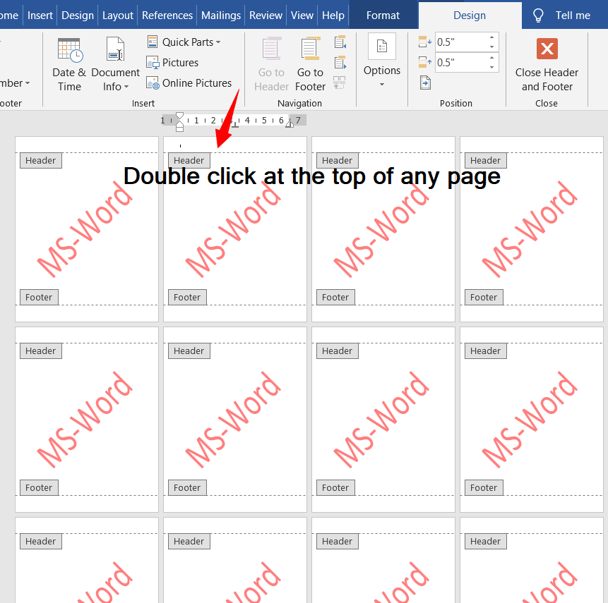 Accommodate Different Watermark for Different Pages in MS-Word: ​