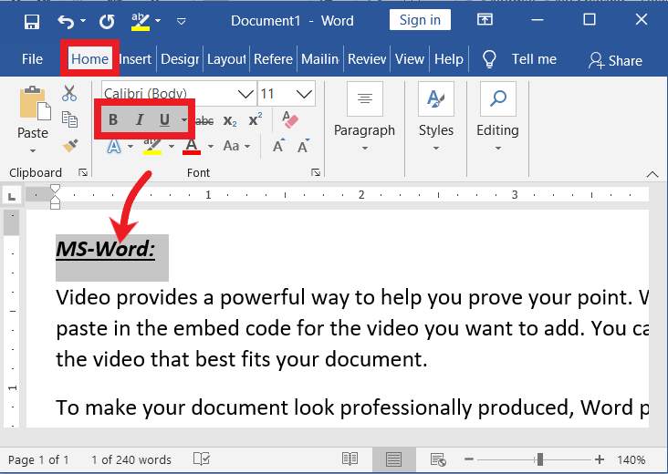 Bold, Italic, Underline in MS-Word