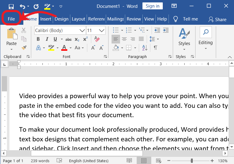 File Menu in MS-Word