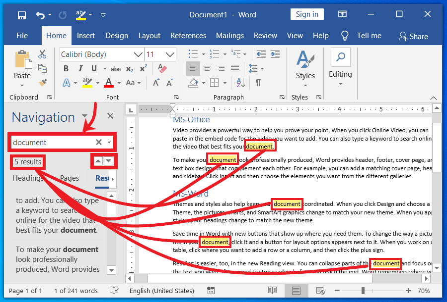Find Text using navigation Pane in MS-Word