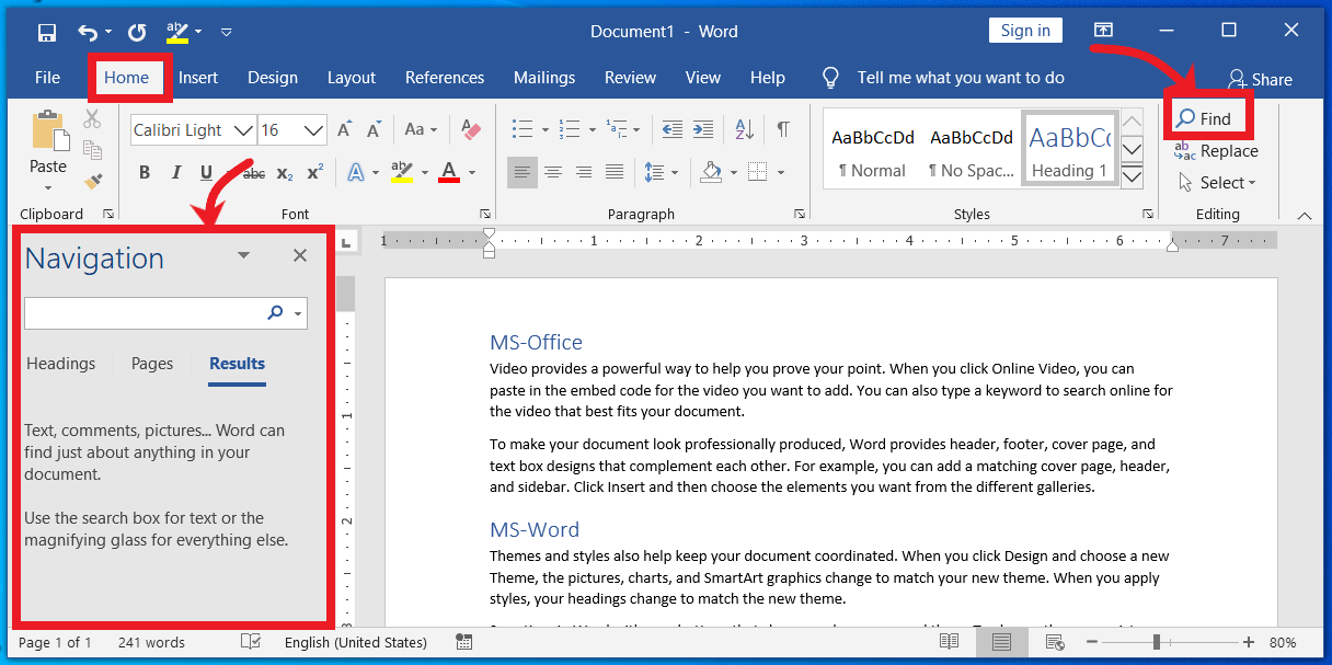How to Find text using Navigation Pane in MS-Word