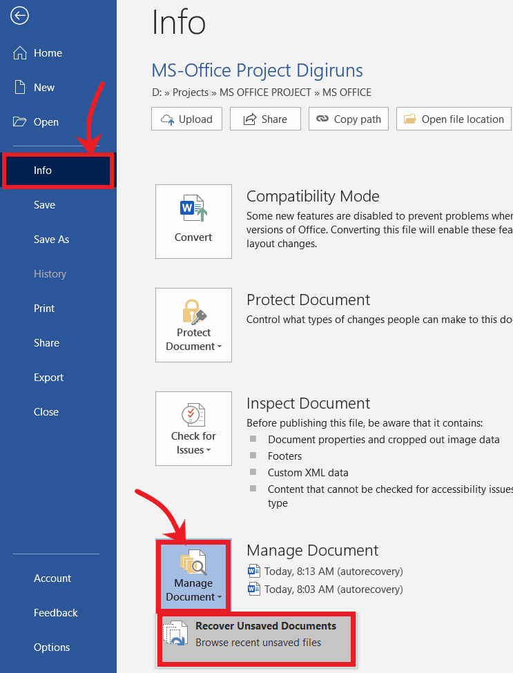 Recover unsaved files in MS Office