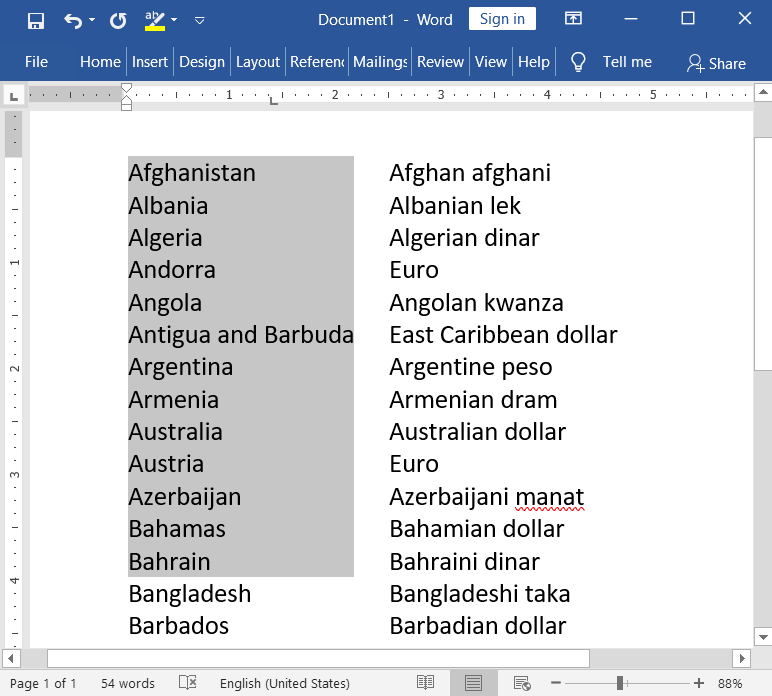Vertical Text Selection in MS-Word