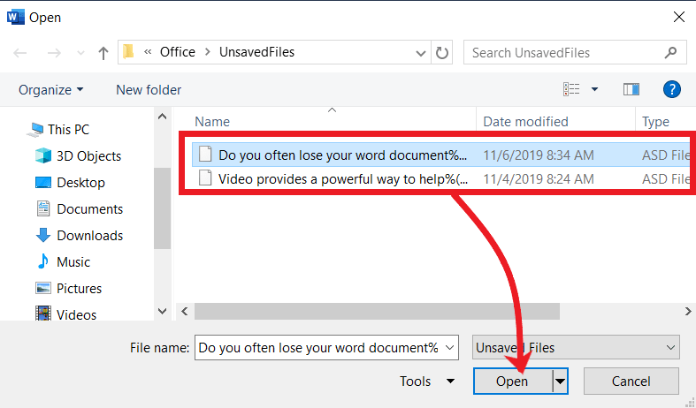 Recover Unsaved Document and Workbook in MS-Office 2019, 2016, 2013
