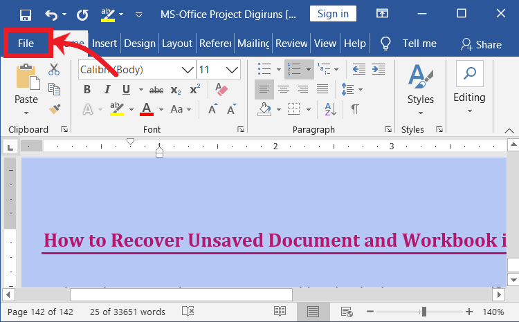 opening file menu in MS-Office