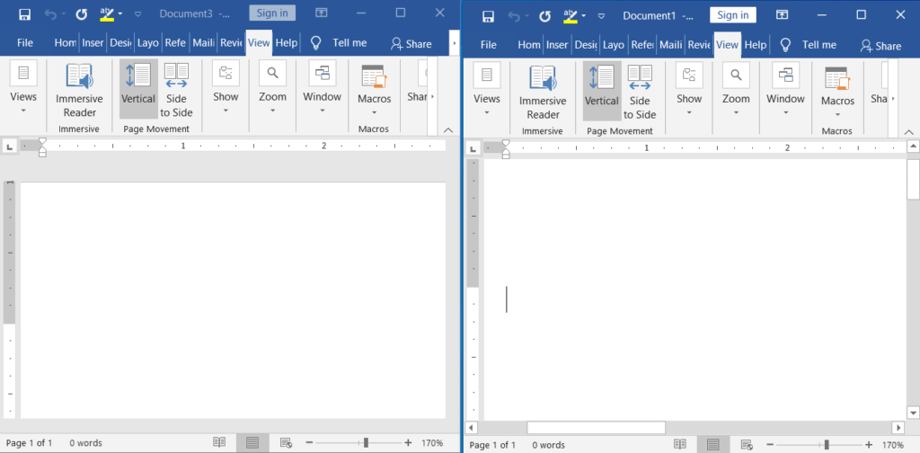 What is synchronous scrolling in ms word?
