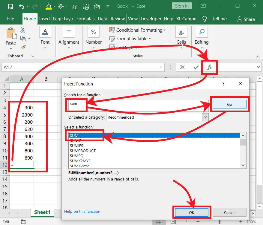 Insert Sum Function in Difference Between Functions and Formulas 