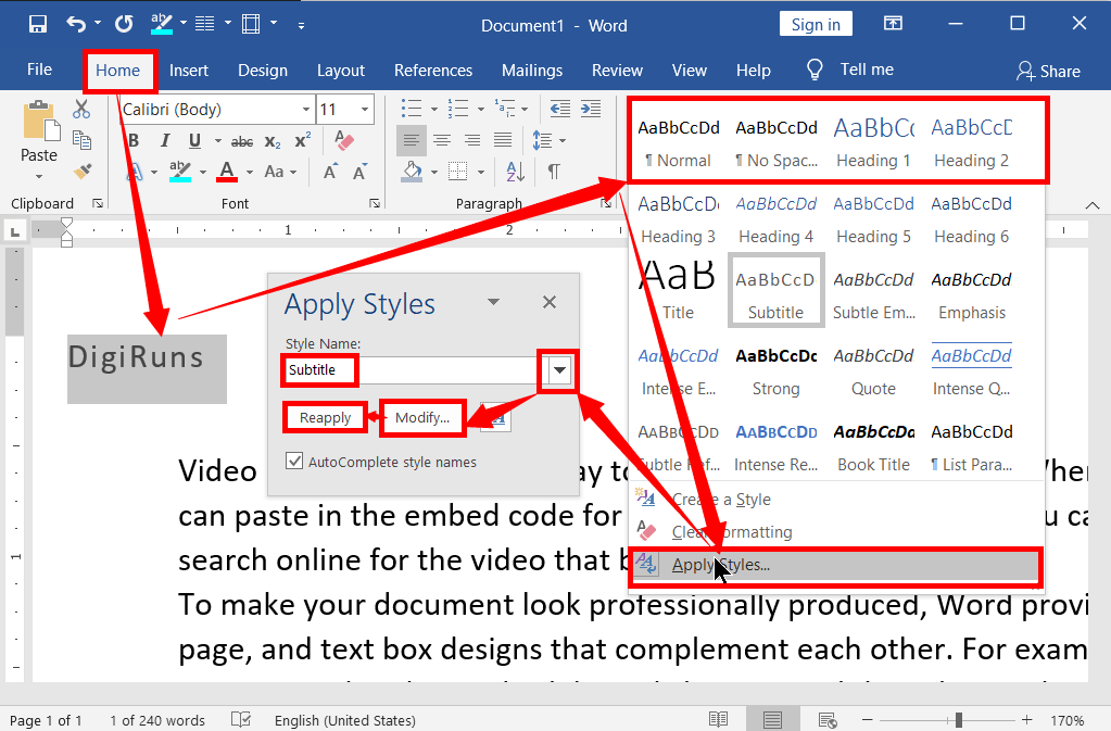 Creating and Applying Heading Styles in MS-Word: No.1 Tricks 1