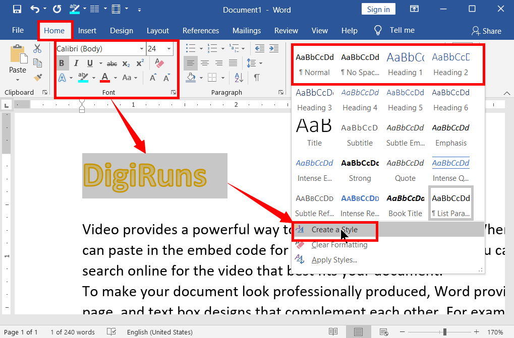 Creating Heading Styles in Word