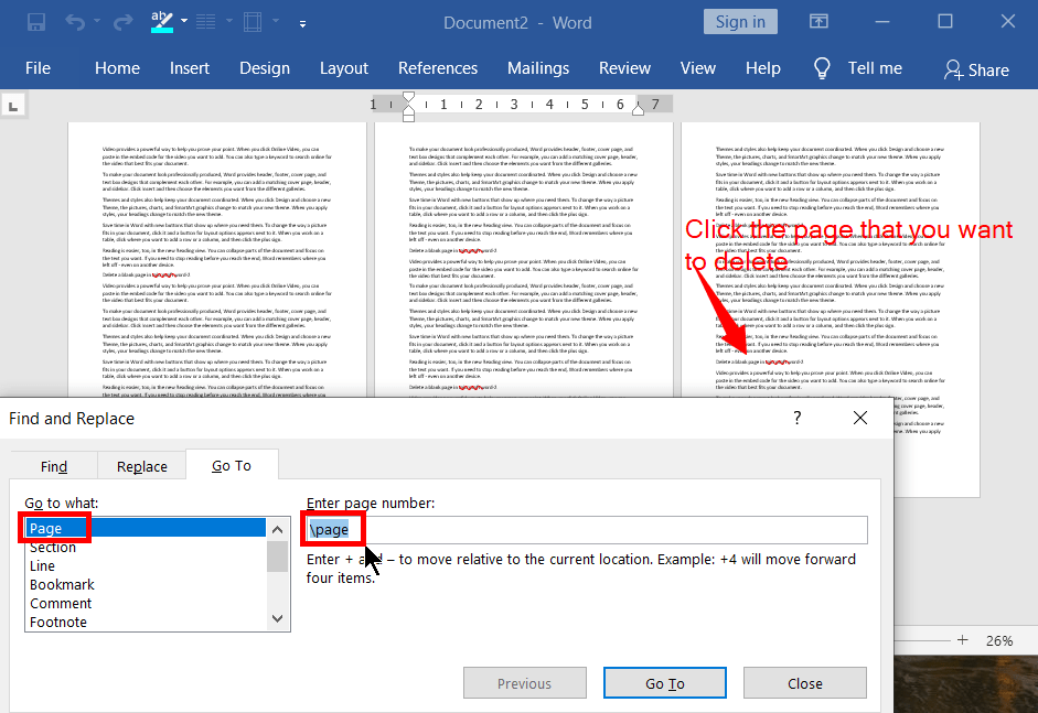 Remove any page you want in a word document