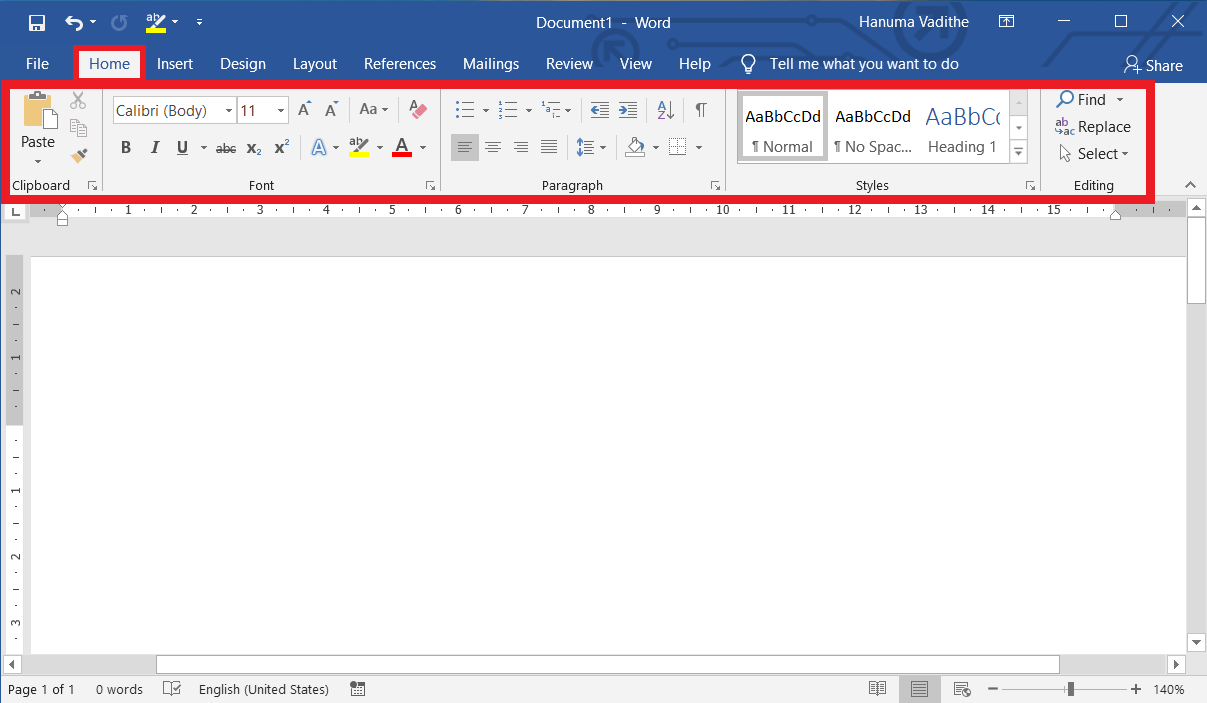 Home Tab in MS-Word