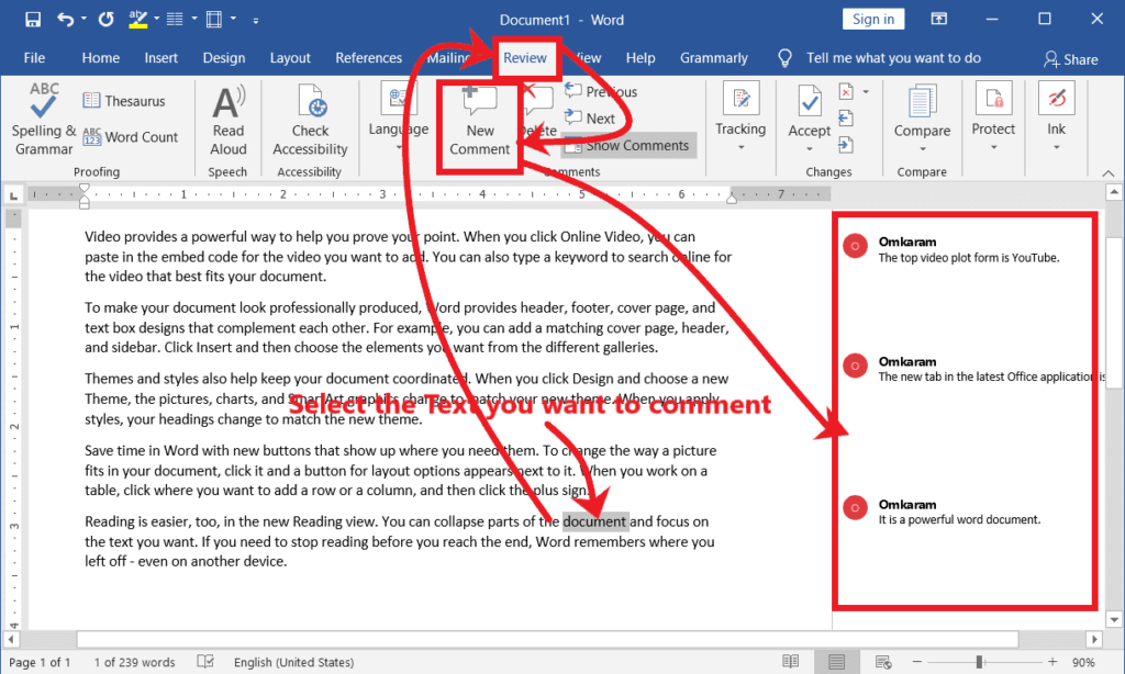 Add a Note by Commenting - Go To in MS Word