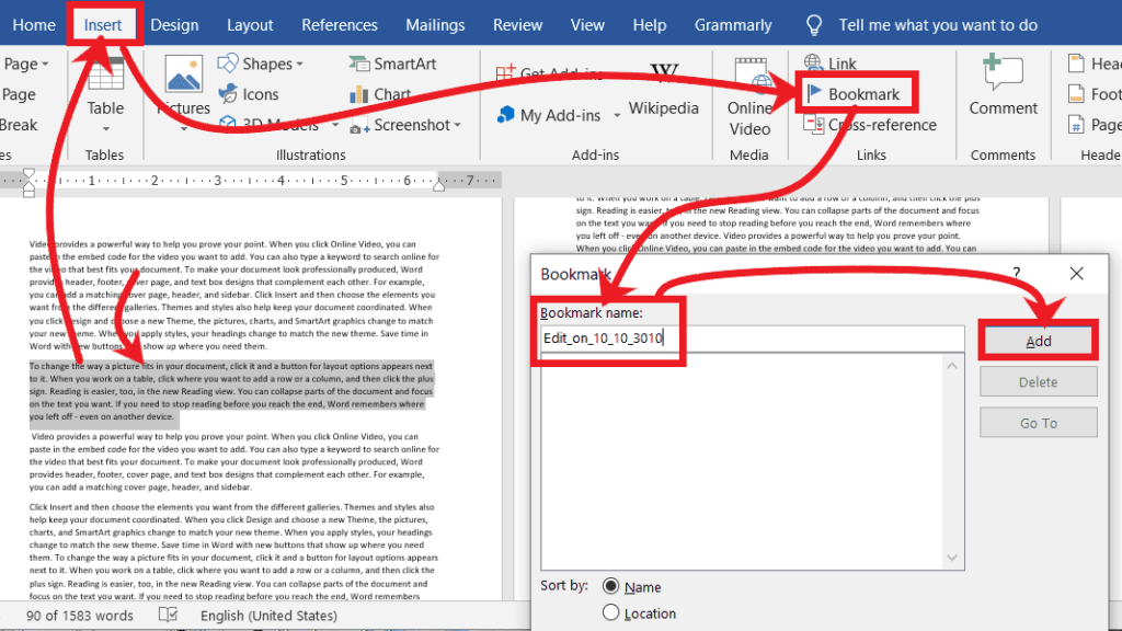 Bookmark Text - Go To in Microsoft Word