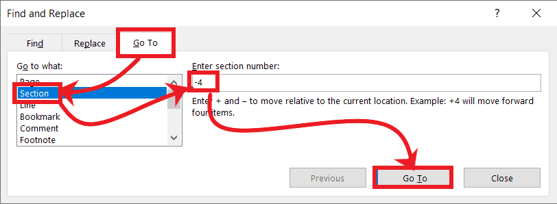 Go To any Section in MS-Word.