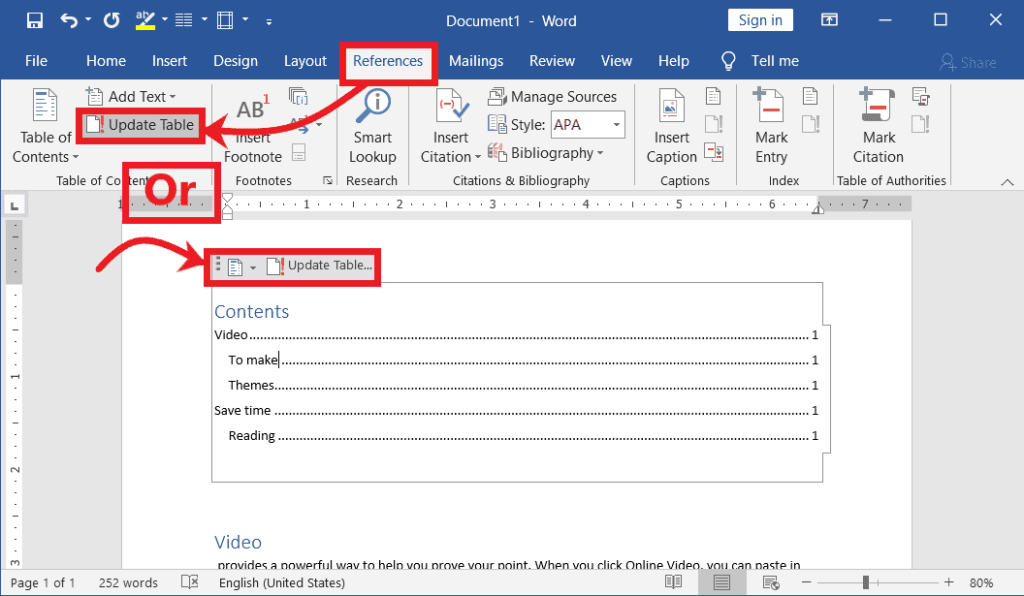 Updating Table of Contents in Word