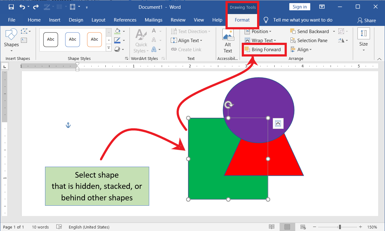 Bring Forward the object in MS Word