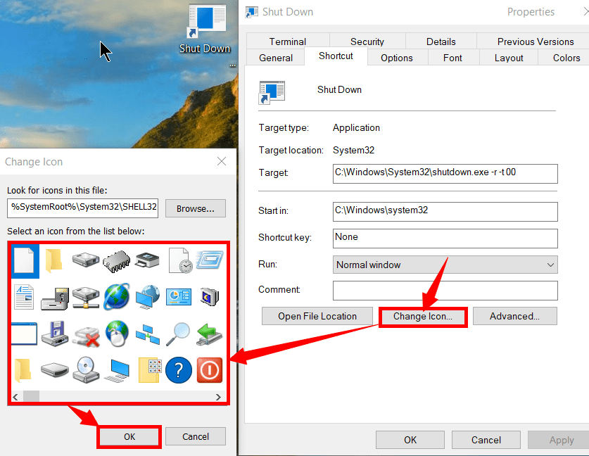 Changing the appearance of an icon on windows