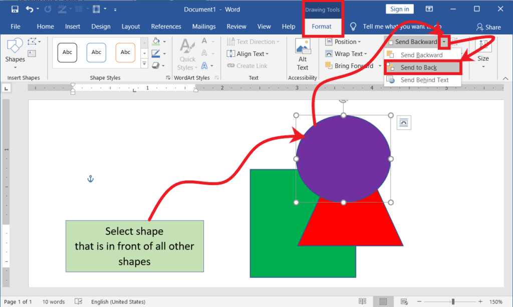 Send object to back of all other objects in Word