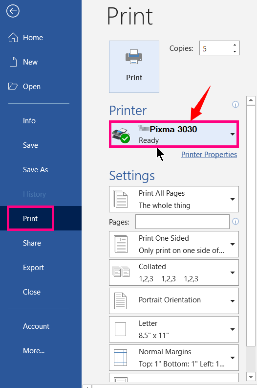 Select the Printer to Print a Word Document