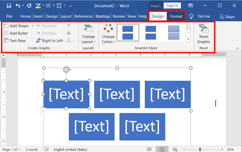 SmartArt Graphic Tools in Word